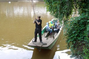 A rope ferry across the river Wye