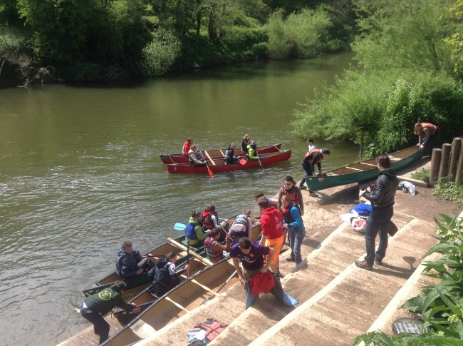 Dutch students landing at Bishopswood after a trip down river from Ross on Wye