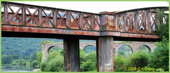 A photo of two bridges over the river Wye at Monmouth