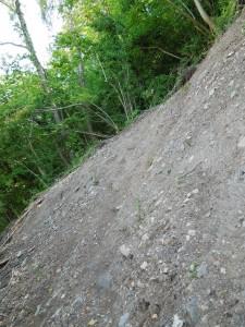 A landslip has damaged part of the riverside path to Lancaut