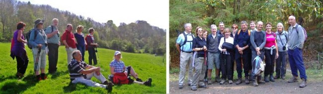 Groups of walkers on two of our guided walks.