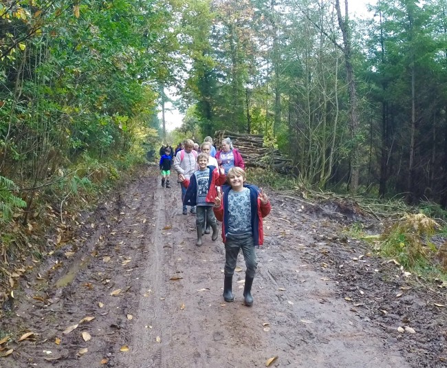 A photo of a group of walkers near Whitemead Park, Parkend.
