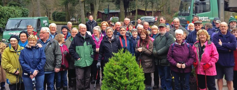 A photo of a group of visitors to Whitemead ready for a walk.