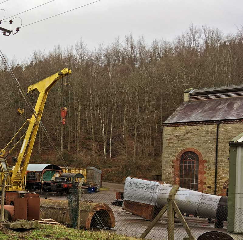 A photo of the Steam engine restoration yard at The Flourmill