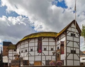 A photo of the Globe Theatre,