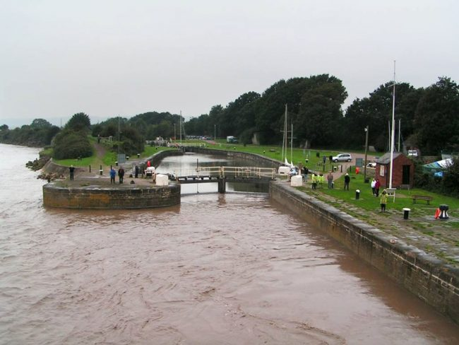 A photo showing Lydney Harbour from the river Severn.